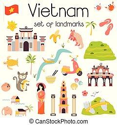 conjunto, señales, famoso, vietnam, lugar, arquitectura