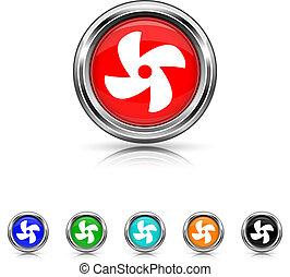 conjunto, seis, -, colores, ventilador, icono