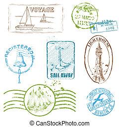 conjunto, -, sellos, vector, diseño, retro, mar, álbum de recortes