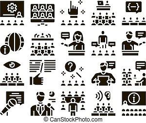 conjunto, seminario, conferencia, glyph, vector