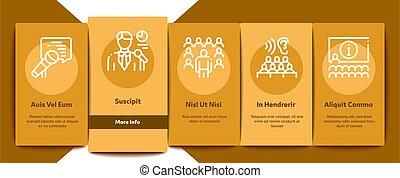 conjunto, seminario, conferencia, iconos, vector, elementos...