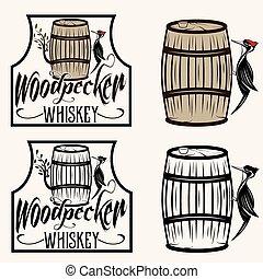 conjunto, sentado, etiquetas, whisky, barril, pájaro carpintero