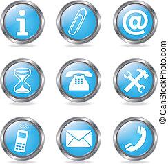 conjunto, servicio, botones