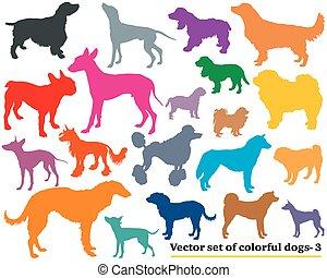 conjunto, silhouettes-3, perros, colorido