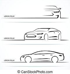 conjunto, silhouettes., ilustración, vector, automóvil de lujo