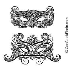conjunto, silueta, encaje, máscara del carnaval, dos, ...