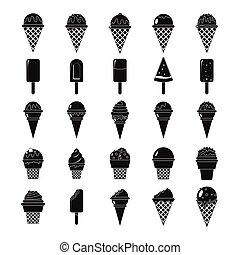 Conjunto, silueta, iconos,  simple, hielo, negro, crema