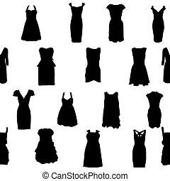 conjunto, silueta, pattern., ilustración, vector, iseamless, vestidos