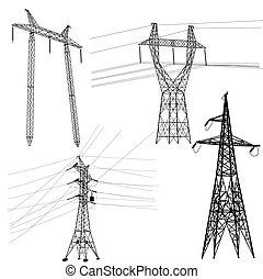 conjunto, silueta, potencia, alto, lines., voltaje
