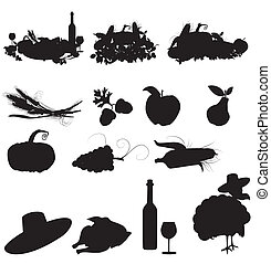 conjunto, silueta, vector, otoño, imágenes, fiestas, cosecha