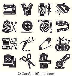 conjunto, simple, costura, icons., vector, relacionado