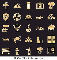 conjunto, simple, estilo, aflicción, iconos