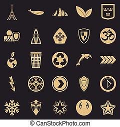 conjunto, simple, estilo, alfiler, iconos
