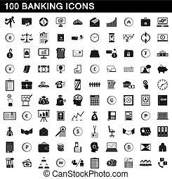conjunto, simple, estilo, banca, iconos, 100