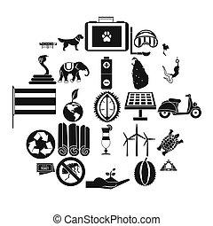 conjunto, simple, estilo, bestial, iconos