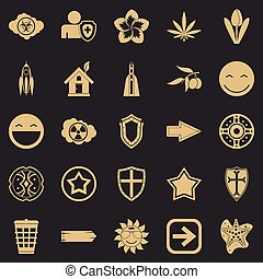 conjunto, simple, estilo, emblema, iconos