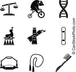 conjunto, simple, estilo, equipoise, iconos