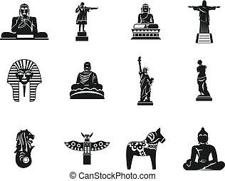 conjunto, simple, estilo, estatua, icono