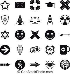 conjunto, simple, estilo, ideograph, iconos