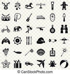 conjunto, simple, estilo, juguete, iconos