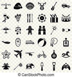 conjunto, simple, estilo, niño, iconos