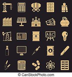 conjunto, simple, estilo, outlay, iconos