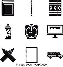 conjunto, simple, estilo, realize, iconos