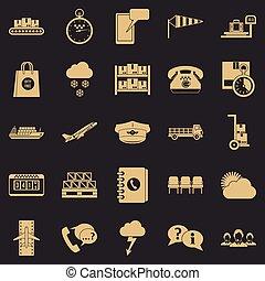 conjunto, simple, estilo, superintendente, iconos