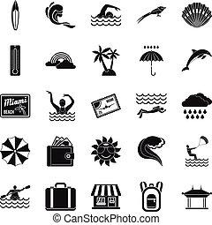 conjunto, simple, estilo, surf, iconos