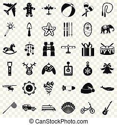 conjunto, simple, estilo, tambor, iconos