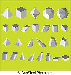 conjunto, simple, ilustración, formas, vector, geométrico