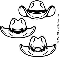conjunto, sombreros de vaquero, aislado, elemento, fondo., diseño, blanco