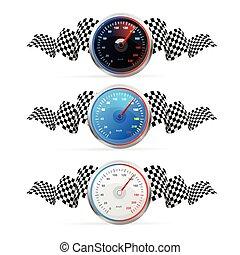 conjunto, speedometr., avto, bandera, vector, carreras