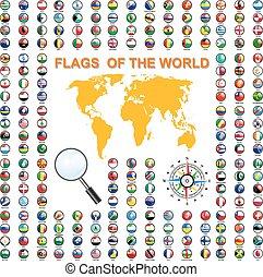 conjunto, states., soberano, ilustración, vector, banderas, mundo