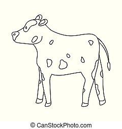 conjunto, stock., vaca, novilla, objeto, símbolo., aislado, ...