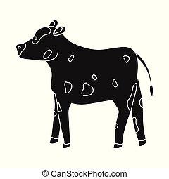 conjunto, stock., vaca, novilla, símbolo., ilustración, ...
