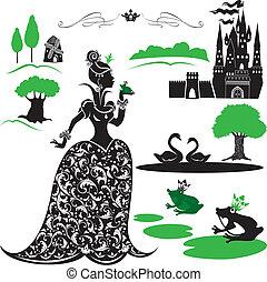 conjunto, swans., fairytale, -, bosque, siluetas, lago, rana, princesa, castillo