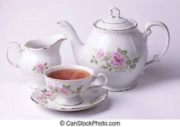 conjunto, té, tradicional, dishware, inglés, floral, blanco