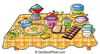 conjunto, tabla, desayuno