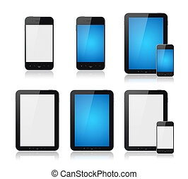 conjunto, tableta, teléfono, móvil, pc, elegante