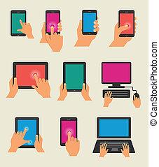 conjunto, tableta, teléfono, manos de valor en cartera,...