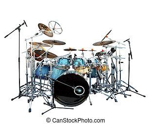 conjunto, tambor, aislar, instrumento, lleno, plano de...