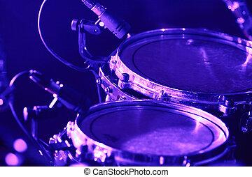 conjunto tambor, com, microfones