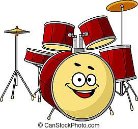 conjunto, tambor, grande, reír, sonrisa, teniendo, feliz