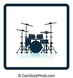 conjunto, tambor, icono