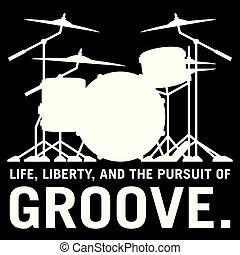 conjunto, tambor, surco, drummer's, aislado, ilustración, vector, persecución, silueta, vida, libertad
