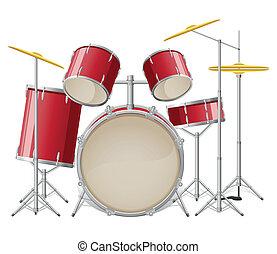 conjunto tambor, vetorial, ilustração