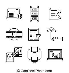 Conjunto, tecnología, red, icono