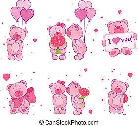 conjunto, teddy, corazones, osos