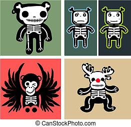 conjunto, teddy, huesos